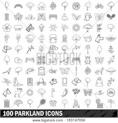100 parkland icons set in outline style for any design vector illustration