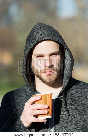 Man In Hoodie With Paper Coffee, Tea Cup