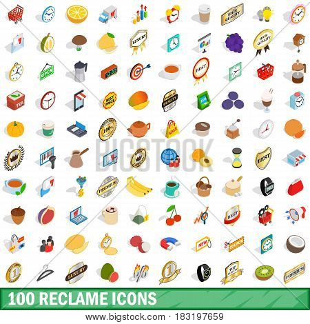 100 reclame icons set in isometric 3d style for any design vector illustration