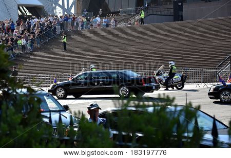 Sydney Australia - Apr 23 2017. The car of Mike Pence the vice president of the United States when arrived to Sydney Opera House.