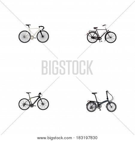 Realistic Folding Sport-Cycle, Road Velocity, Hybrid Velocipede And Other Vector Elements. Set Of Bicycle Realistic Symbols Also Includes Bike, Training, Folding Objects.