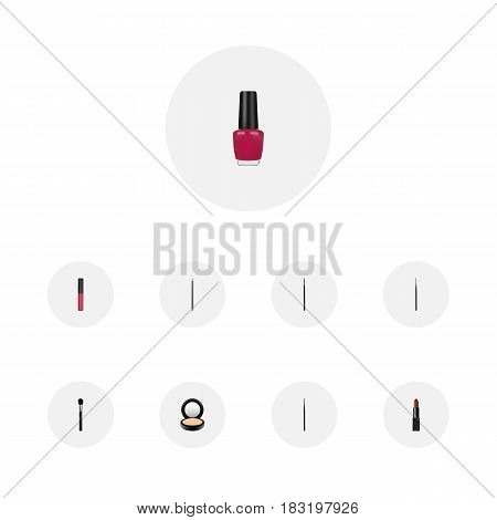 Realistic Pomade, Contour Style Kit, Liquid Lipstick And Other Vector Elements. Set Of Cosmetics Realistic Symbols Also Includes Pencil, Liquid, Eye Objects.