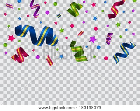 Vector celebration template with serpentine and confetti and  carnival ribbon on transparent background. Holiday backgrop.
