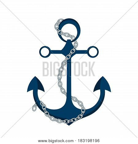 Anchor with chain vector icon. Logo marine theme