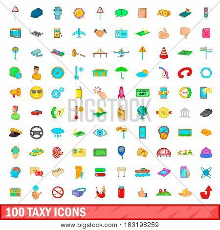 100 taxy icons set in cartoon style for any design vector illustration