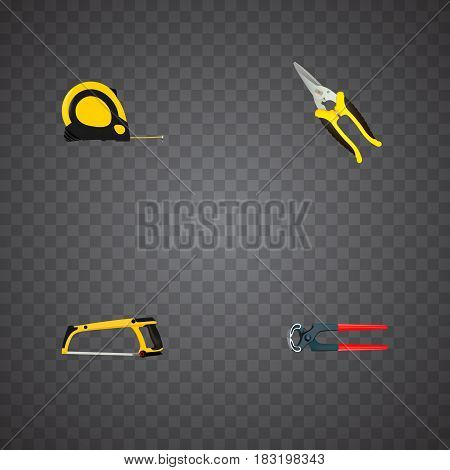 Realistic Scissors, Length Roulette, Arm-Saw And Other Vector Elements. Set Of Kit Realistic Symbols Also Includes Scissors, Tape, Tongs Objects.