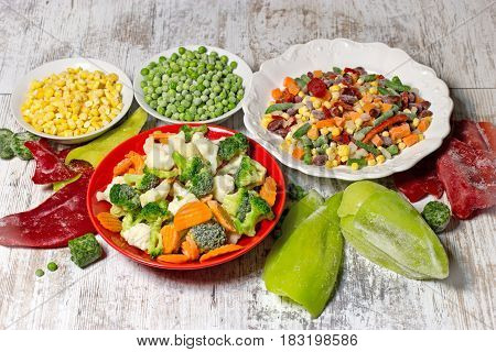 Frozen vegetables in plate and bowl, frozen vegetables retain all the nutrients - healthy eating