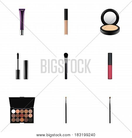 Realistic Liquid Lipstick, Day Creme, Eyelashes Ink And Other Vector Elements. Set Of Maquillage Realistic Symbols Also Includes Palette, Creme, Ink Objects.