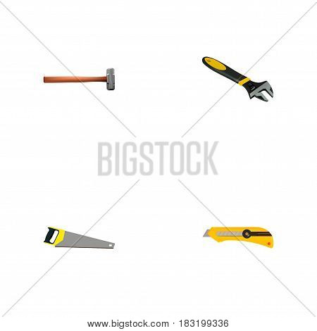 Realistic Stationery Knife, Hacksaw, Handle Hit Vector Elements. Set Of Kit Realistic Symbols Also Includes Saw, Stationery, Cutter Objects.
