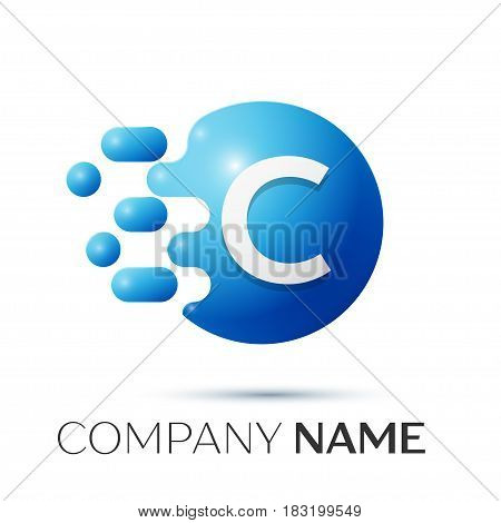 C Letter splash logo. Blue dots and circle bubble letter design on grey background. Vector Illustration