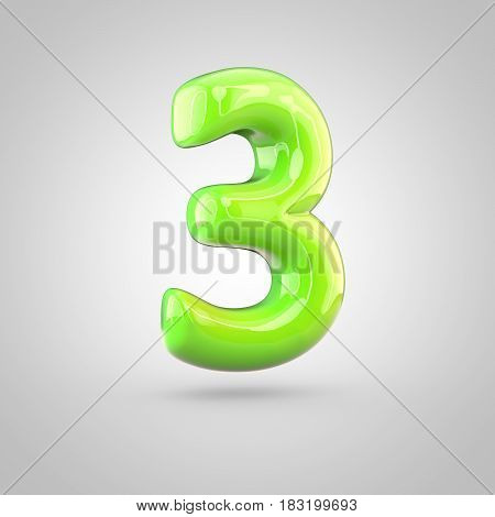 Glossy Lime Paint Alphabet Number 3 Isolated On White Background