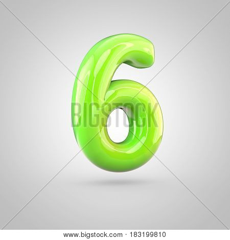 Glossy Lime Paint Alphabet Number 6 Isolated On White Background