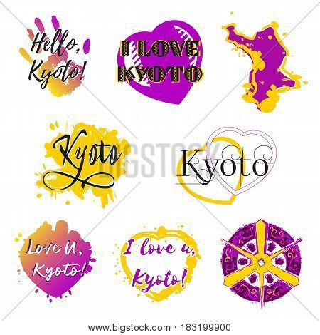 Set of stickers with lettering about Kyoto and heart paint splashes in violet yellow colors on white. Collection of souvenir prints for fabric textiles clothing shirts. Vector illustration