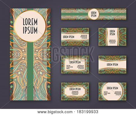 Business Cards, Invitations And Banner Template Set. Ethnic Mandala Pattern And Ornaments In Boho St