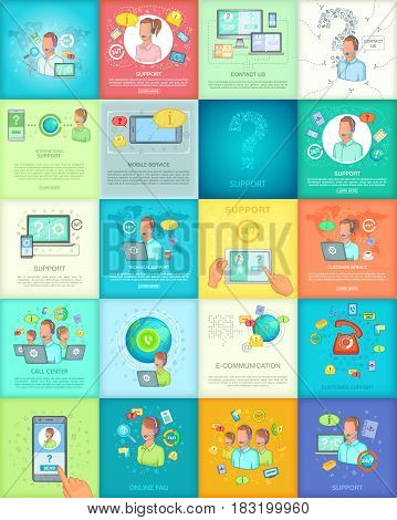 Call center banner set in cartoon style for any design vector illustration