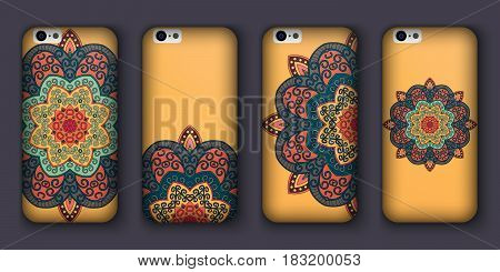 Phone cover collection boho style pattern. Vector background. Vintage decorative elements. Hand drawn background. Islam arabic indian ottoman motifs
