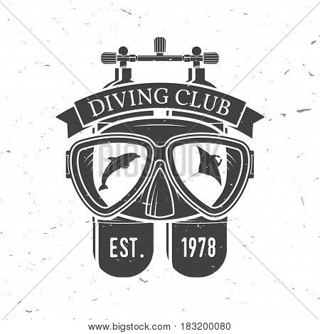 Diving club. Vector illustration. Concept for shirt or logo, print, stamp or tee. Vintage typography design with diving mask and dive tank silhouette.