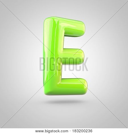 Glossy Lime Paint Alphabet Letter E Uppercase Isolated On White Background