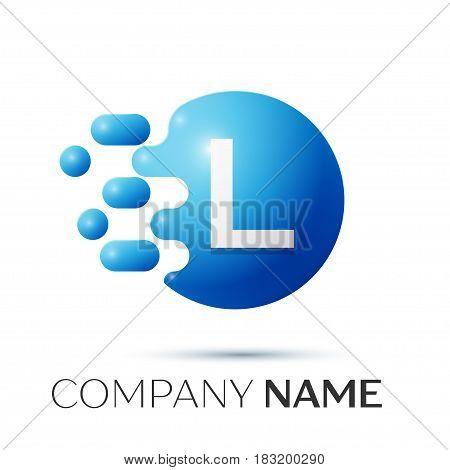 L Letter splash logo. Blue dots and circle bubble letter design on grey background. Vector Illustration
