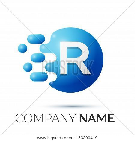 R Letter splash logo. Blue dots and circle bubble letter design on grey background. Vector Illustration