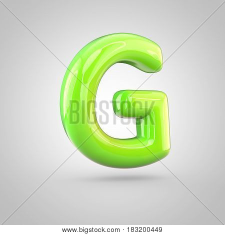 Glossy Lime Paint Alphabet Letter G Uppercase Isolated On White Background