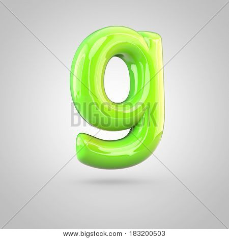 Glossy Lime Paint Alphabet Letter G Lowercase Isolated On White Background