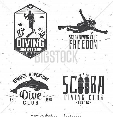 Set of Scuba diving club and diving school design. Vector illustration. Concept for shirt or logo, print, stamp or tee. Vintage typography design with diving gear silhouette.