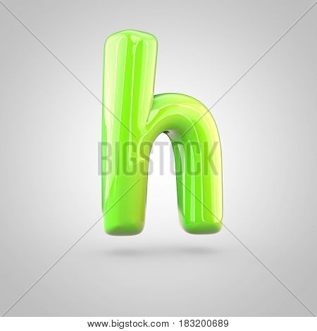 Glossy Lime Paint Alphabet Letter H Lowercase Isolated On White Background