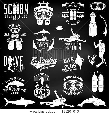 Set of Scuba diving club and diving school badges with design elements on the chalkboard. Vector illustration. Vintage typography design with diving gear silhouette.