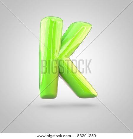 Glossy Lime Paint Alphabet Letter K Uppercase Isolated On White Background