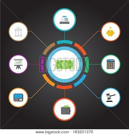 Flat Money Box, Bank, Accounting And Other Vector Elements. Set Of Business Flat Symbols Also Includes Atm, Auction, Machine Objects.