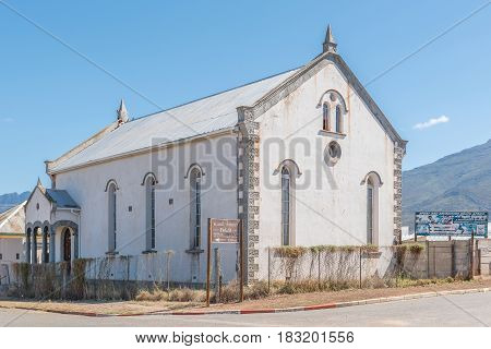 LADISMITH SOUTH AFRICA - MARCH 25 2017: The historic synagogue (circa 1913) in Ladismith a small town in the Western Cape Province