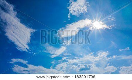 White clouds in the blue sky ,cloudscape