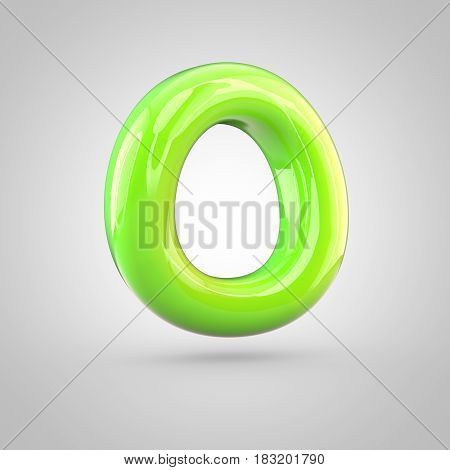Glossy Lime Paint Alphabet Letter O Uppercase Isolated On White Background