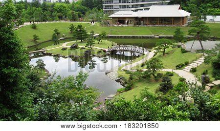 A beautiful Japanese garden in Kanazawa, Japan