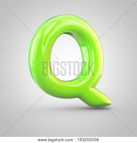 Glossy Lime Paint Alphabet Letter Q Uppercase Isolated On White Background