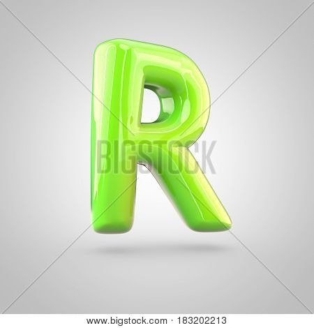 Glossy Lime Paint Alphabet Letter R Uppercase Isolated On White Background