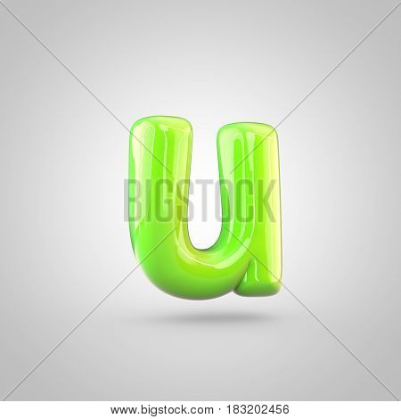Glossy Lime Paint Alphabet Letter U Lowercase Isolated On White Background