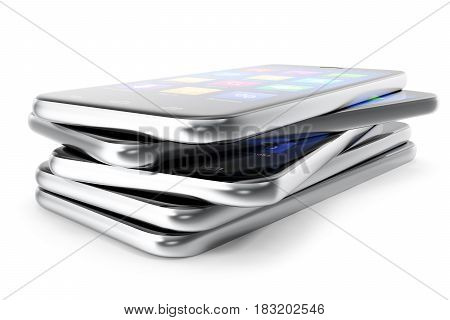 A silver phone width a blue screen and icons, isolated on white background. 3d illustration
