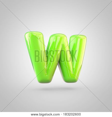 Glossy Lime Paint Alphabet Letter W Lowercase Isolated On White Background
