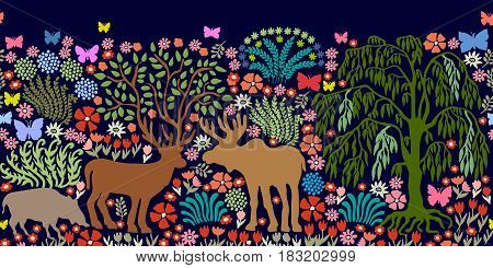 Panoramic composition with deer, elk, boar, plants.