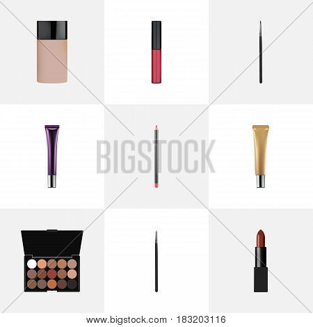 Realistic Multicolored Palette, Collagen Tube, Pomade And Other Vector Elements. Set Of Cosmetics Realistic Symbols Also Includes Palette, Pomade, Cream Objects.