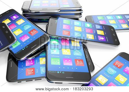 Heap of the different smartphones with application on the screen. Modern technology concept background. 3d illustration