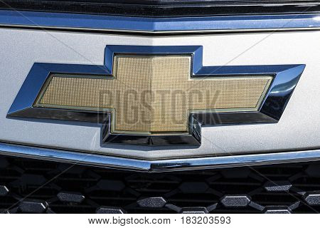 Indianapolis - Circa April 2017: Chevrolet Bowtie Logo. Chevrolet is a Division of General Motors IV