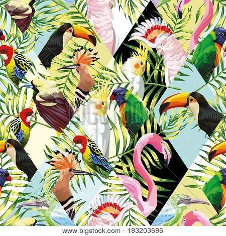 Exotic beach trendy seamless pattern patchwork illustrated tropical birds vector. Jungle parrots pink flamingo toucan Wallpaper print tropic palm leaves background mosaic