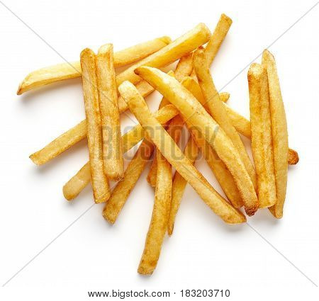 Heap Of French Fries Isolated On White, From Above