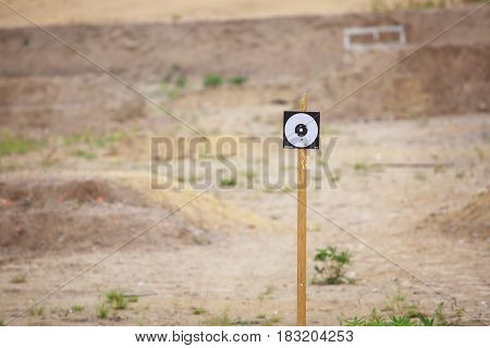 Targets on outdoor shooting range close up
