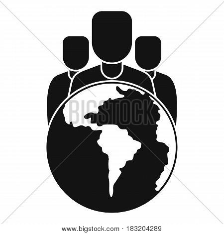 World planet and people icon. Simple illustration of world planet and people vector icon for web
