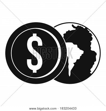 World planet and dollar coin icon. Simple illustration of world planet and dollar coin vector icon for web