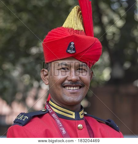 NEW DELHI INDIA - JANUARY 23 2017 : Soldiers take part in rehearsal activities for the upcoming India Republic Day parade which will be held January 26 at Jawaharlal Nehru stadium